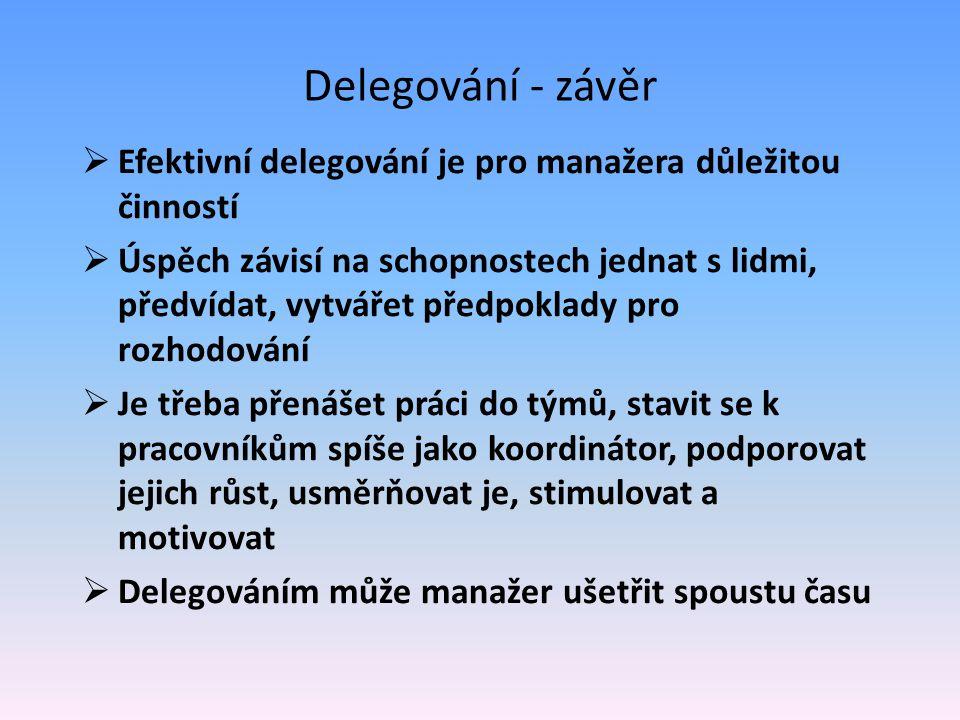 Delegování - závěr  Efektivní delegování je pro manažera důležitou činností  Úspěch závisí na schopnostech jednat s lidmi, předvídat, vytvářet předp