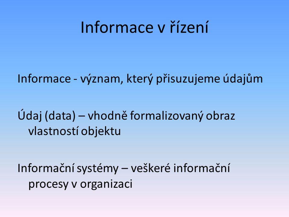 Informace v řízení Informace - význam, který přisuzujeme údajům Údaj (data) – vhodně formalizovaný obraz vlastností objektu Informační systémy – veške