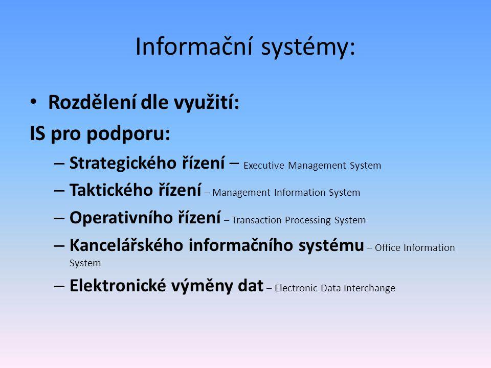 Informační systémy: Rozdělení dle využití: IS pro podporu: – Strategického řízení – Executive Management System – Taktického řízení – Management Infor