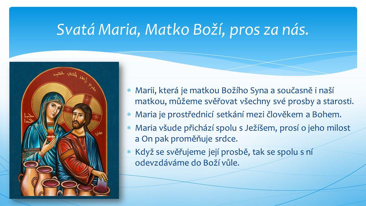  Marii, která je matkou Božího Syna a současně i naší matkou, můžeme svěřovat všechny své prosby a starosti.  Maria je prostřednicí setkání mezi člo