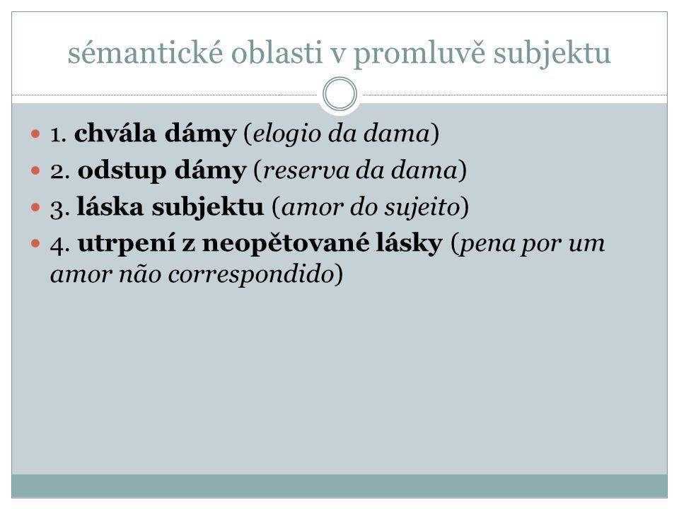 sémantické oblasti v promluvě subjektu 1. chvála dámy (elogio da dama) 2. odstup dámy (reserva da dama) 3. láska subjektu (amor do sujeito) 4. utrpení