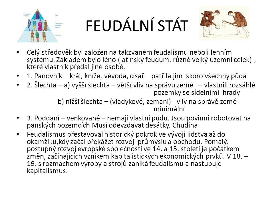 FEUDÁLNÍ STÁT Celý středověk byl založen na takzvaném feudalismu neboli lenním systému. Základem bylo léno (latinsky feudum, různě velký územní celek)