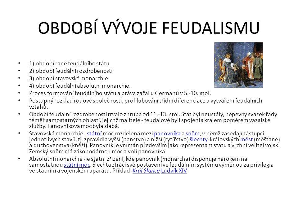 OBDOBÍ VÝVOJE FEUDALISMU 1) období raně feudálního státu 2) období feudální rozdrobenosti 3) období stavovské monarchie 4) období feudální absolutní m