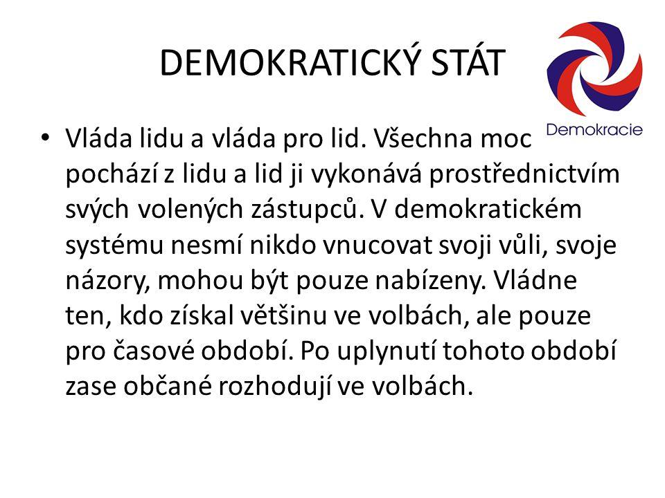 DEMOKRATICKÝ STÁT Vláda lidu a vláda pro lid. Všechna moc pochází z lidu a lid ji vykonává prostřednictvím svých volených zástupců. V demokratickém sy