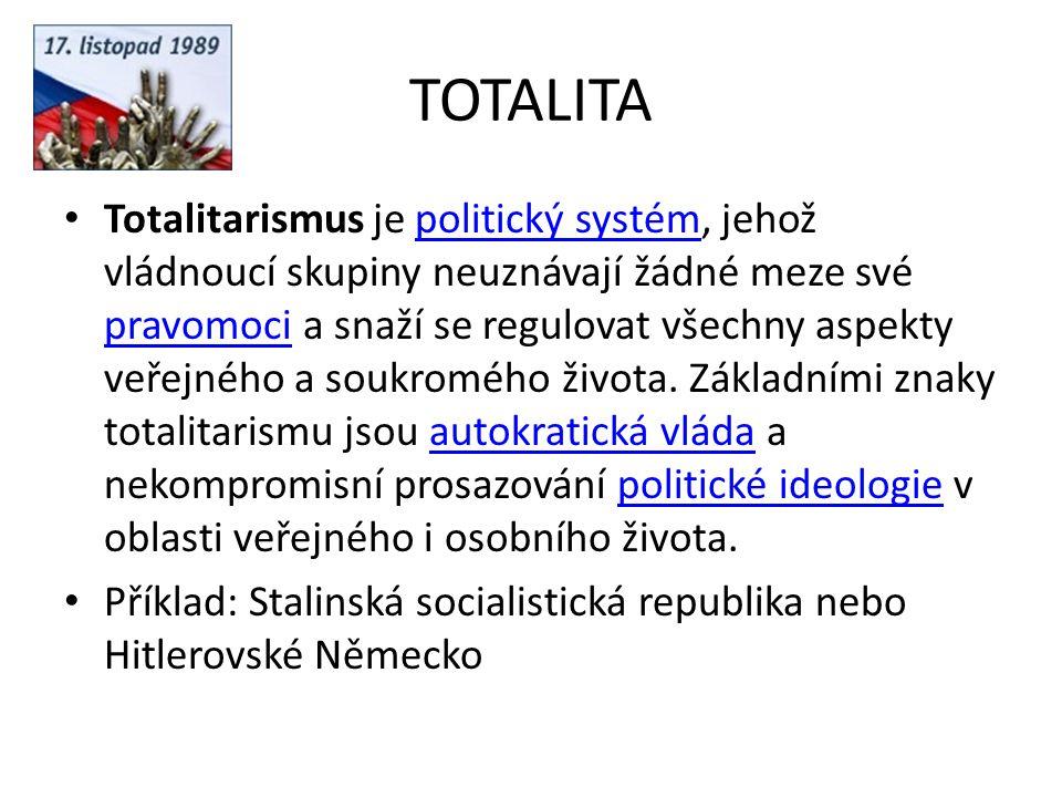 TOTALITA Totalitarismus je politický systém, jehož vládnoucí skupiny neuznávají žádné meze své pravomoci a snaží se regulovat všechny aspekty veřejnéh