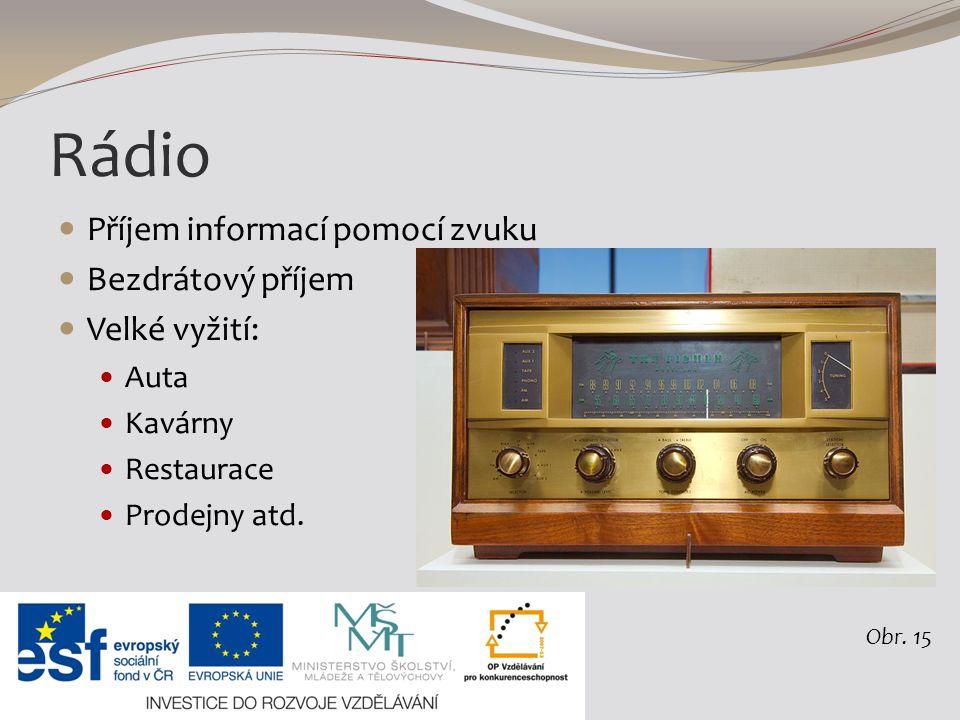 Rádio Příjem informací pomocí zvuku Bezdrátový příjem Velké vyžití: Auta Kavárny Restaurace Prodejny atd.