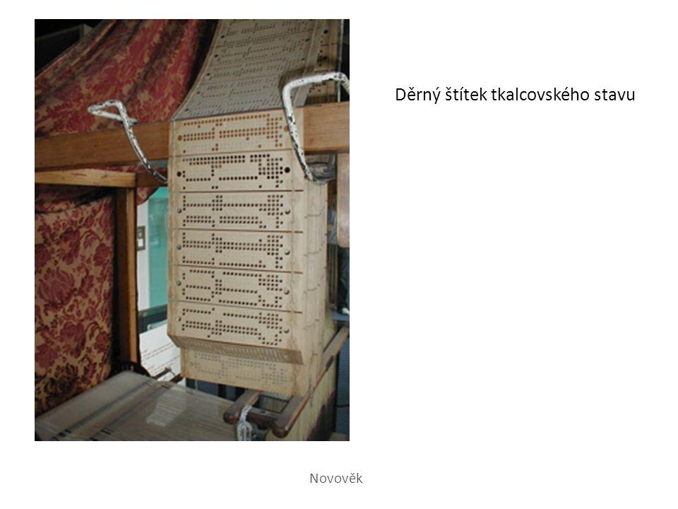 Děrný štítek tkalcovského stavu Novověk