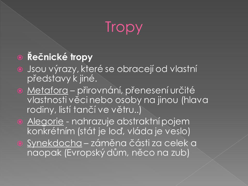  Řečnické tropy  Jsou výrazy, které se obracejí od vlastní představy k jiné.  Metafora – přirovnání, přenesení určité vlastnosti věci nebo osoby na