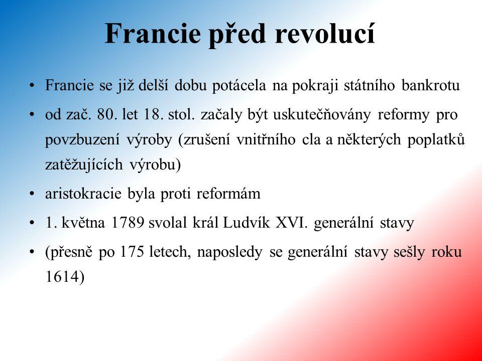 Francie před revolucí Francie se již delší dobu potácela na pokraji státního bankrotu od zač. 80. let 18. stol. začaly být uskutečňovány reformy pro p
