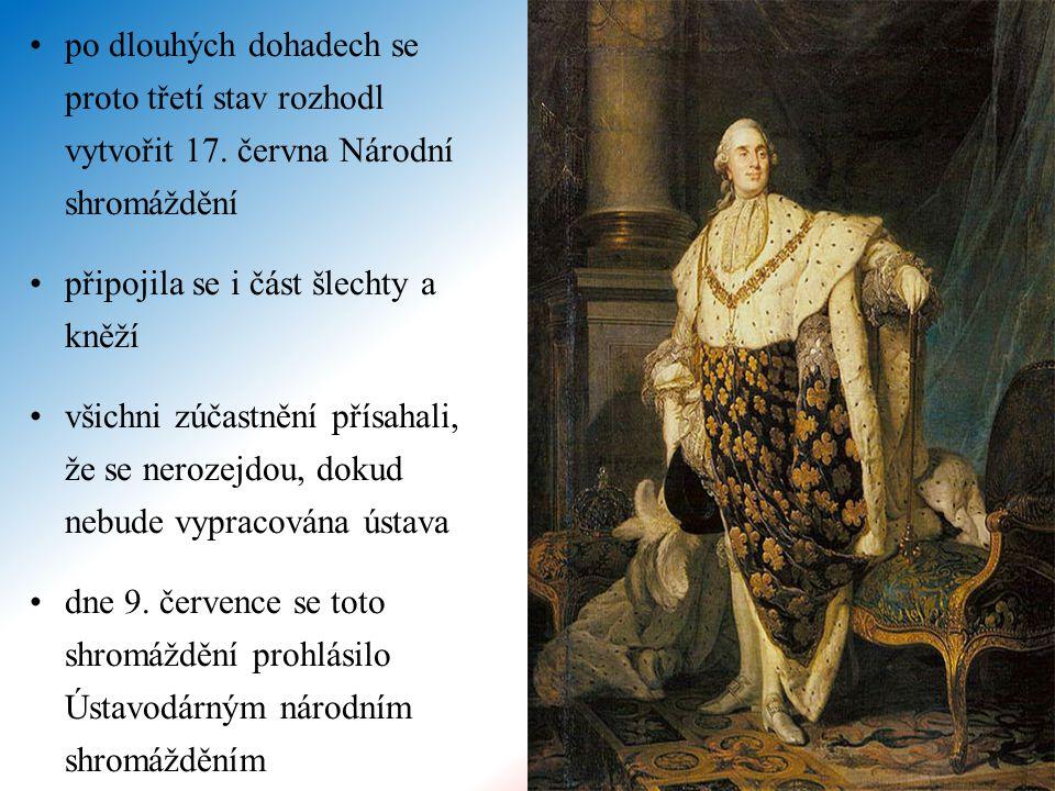 po dlouhých dohadech se proto třetí stav rozhodl vytvořit 17. června Národní shromáždění připojila se i část šlechty a kněží všichni zúčastnění přísah