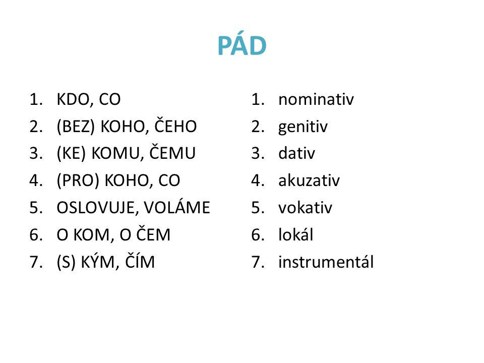 PÁD 1.KDO, CO 2.(BEZ) KOHO, ČEHO 3.(KE) KOMU, ČEMU 4.(PRO) KOHO, CO 5.OSLOVUJE, VOLÁME 6.O KOM, O ČEM 7.(S) KÝM, ČÍM 1.nominativ 2.genitiv 3.dativ 4.akuzativ 5.vokativ 6.lokál 7.instrumentál