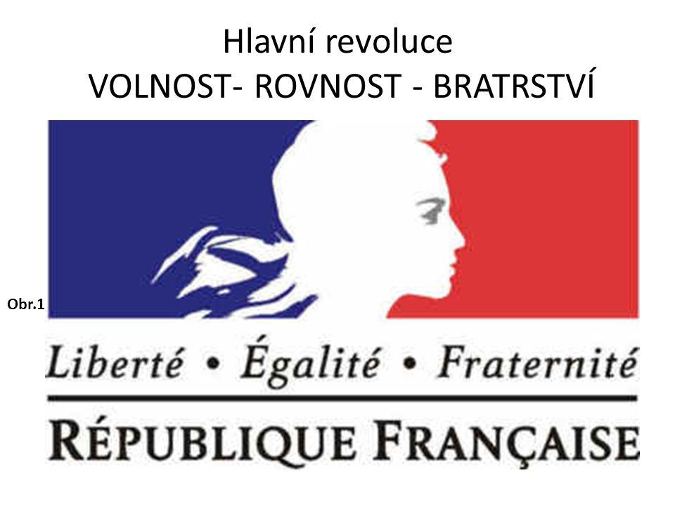 Hlavní revoluce VOLNOST- ROVNOST - BRATRSTVÍ Obr.1