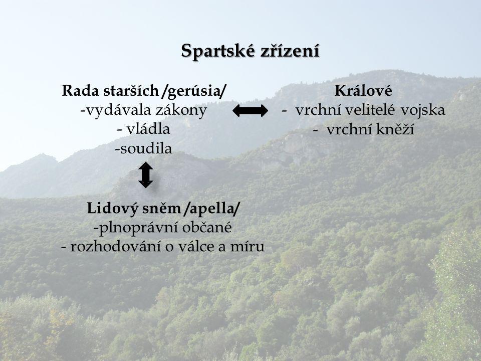 Spartské zřízení Rada starších /gerúsia/ -vydávala zákony - vládla -soudila Lidový sněm /apella/ -plnoprávní občané - rozhodování o válce a míru Králo
