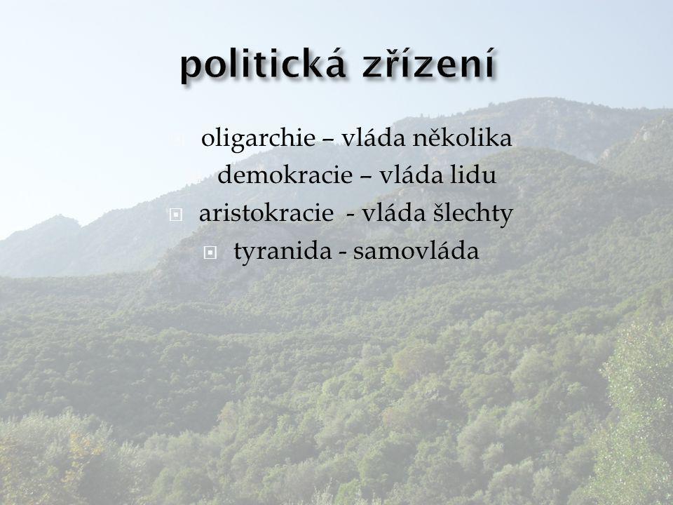  oligarchie – vláda několika  demokracie – vláda lidu  aristokracie - vláda šlechty  tyranida - samovláda