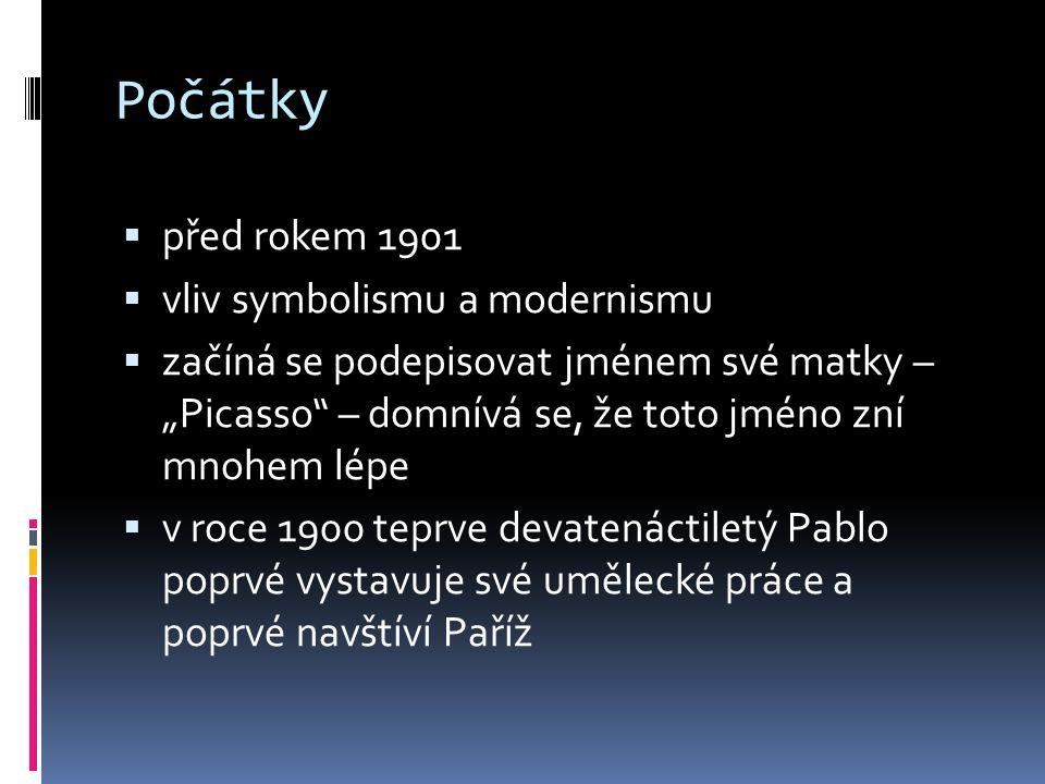 Modré období  1901-1904  převládají modré a modrozelené tóny  volí smutné náměty (žebrák, prostitutka)  často se objevuje motiv harlekýna, který se stal Picassovým symbolem La Vie 1903