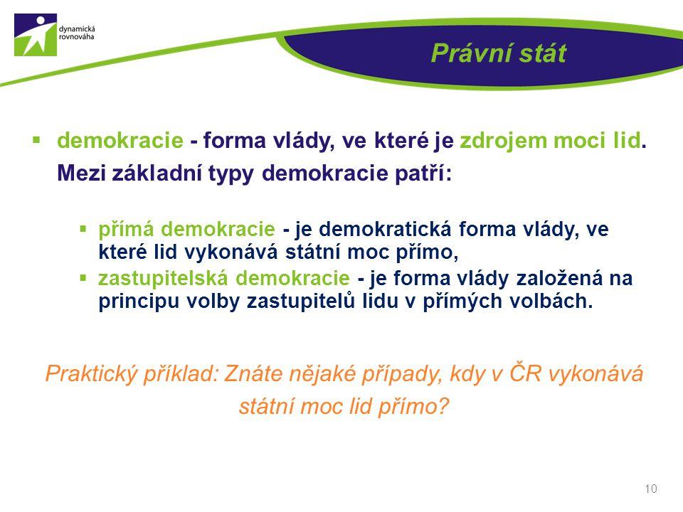 Právní stát  demokracie - forma vlády, ve které je zdrojem moci lid. Mezi základní typy demokracie patří:  přímá demokracie - je demokratická forma