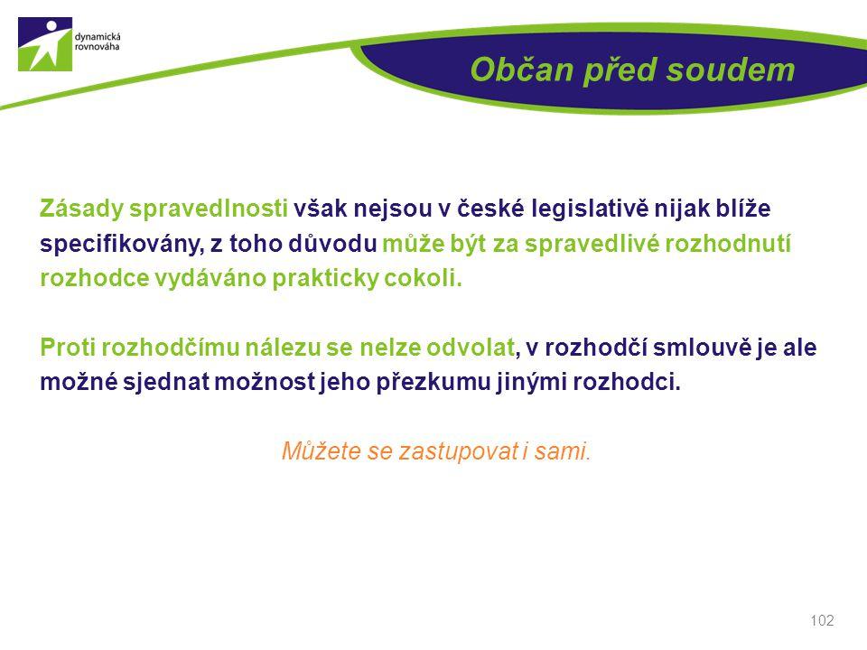 Občan před soudem Zásady spravedlnosti však nejsou v české legislativě nijak blíže specifikovány, z toho důvodu může být za spravedlivé rozhodnutí rozhodce vydáváno prakticky cokoli.