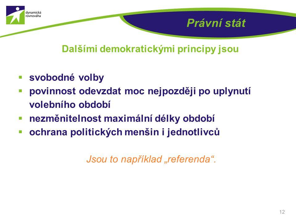  svobodné volby  povinnost odevzdat moc nejpozději po uplynutí volebního období  nezměnitelnost maximální délky období  ochrana politických menšin