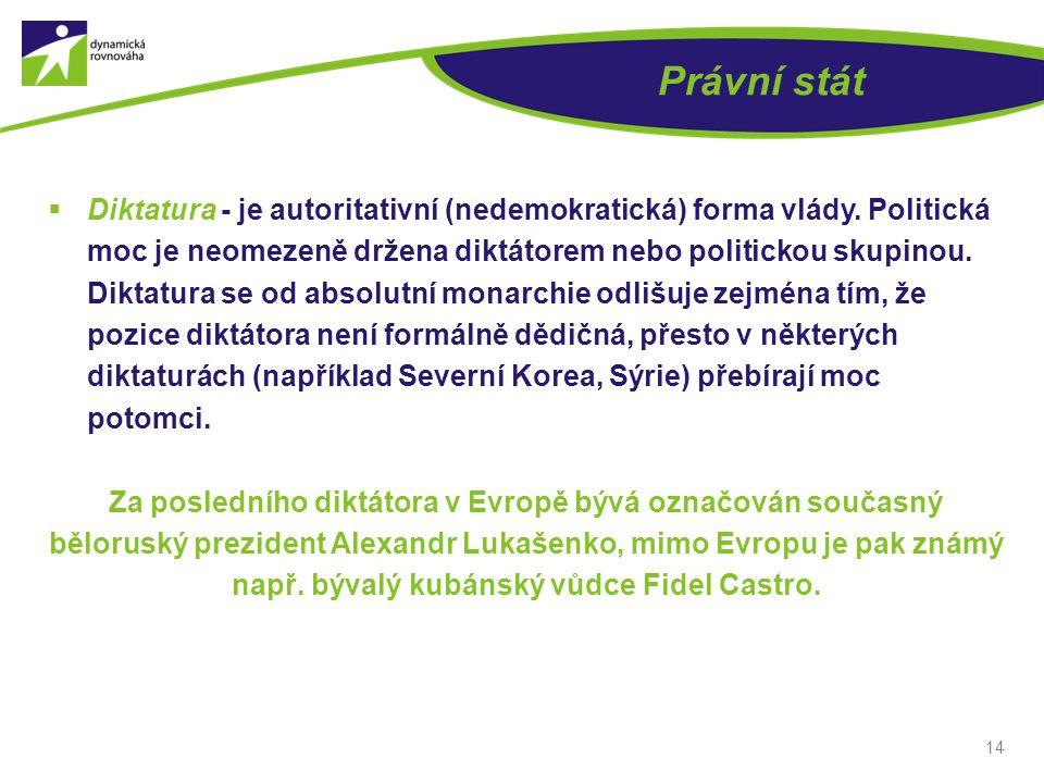 Právní stát  Diktatura - je autoritativní (nedemokratická) forma vlády.