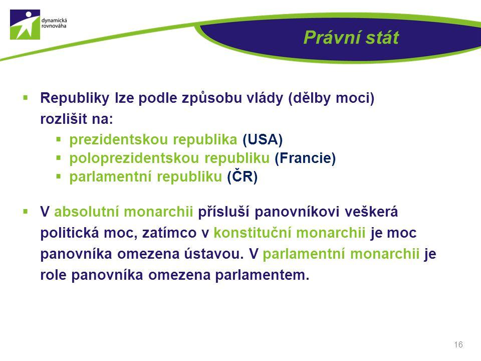 Právní stát  Republiky lze podle způsobu vlády (dělby moci) rozlišit na:  prezidentskou republika (USA)  poloprezidentskou republiku (Francie)  pa
