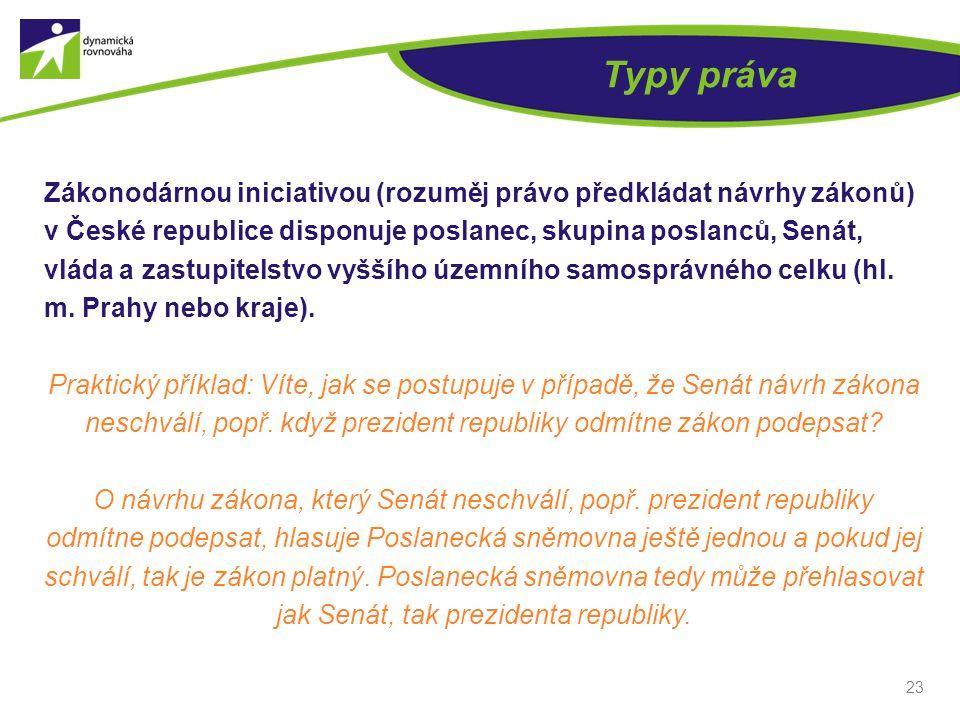 Typy práva Zákonodárnou iniciativou (rozuměj právo předkládat návrhy zákonů) v České republice disponuje poslanec, skupina poslanců, Senát, vláda a zastupitelstvo vyššího územního samosprávného celku (hl.