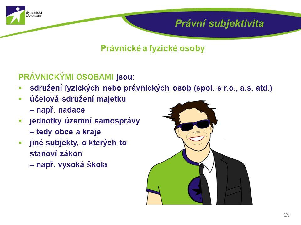 25 Právní subjektivita Právnické a fyzické osoby PRÁVNICKÝMI OSOBAMI jsou:  sdružení fyzických nebo právnických osob (spol.