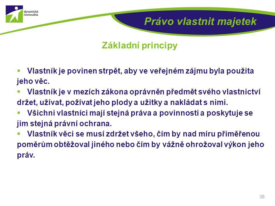 38 Právo vlastnit majetek Základní principy  Vlastník je povinen strpět, aby ve veřejném zájmu byla použita jeho věc.