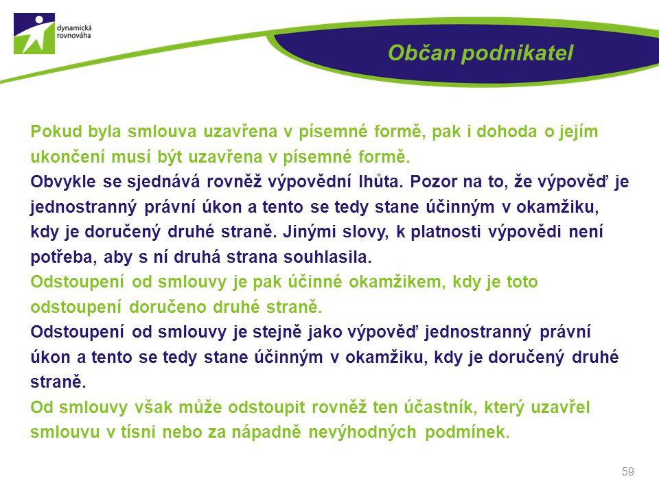 Občan podnikatel Pokud byla smlouva uzavřena v písemné formě, pak i dohoda o jejím ukončení musí být uzavřena v písemné formě.