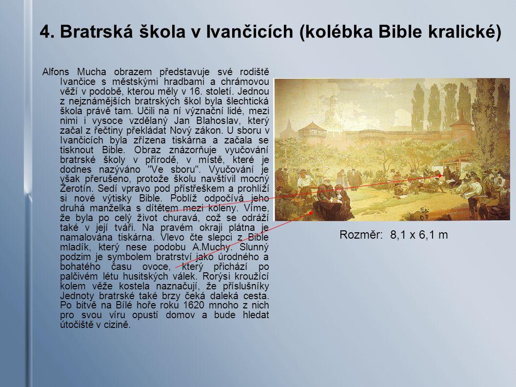 4. Bratrská škola v Ivančicích (kolébka Bible kralické) Alfons Mucha obrazem představuje své rodiště Ivančice s městskými hradbami a chrámovou věží v