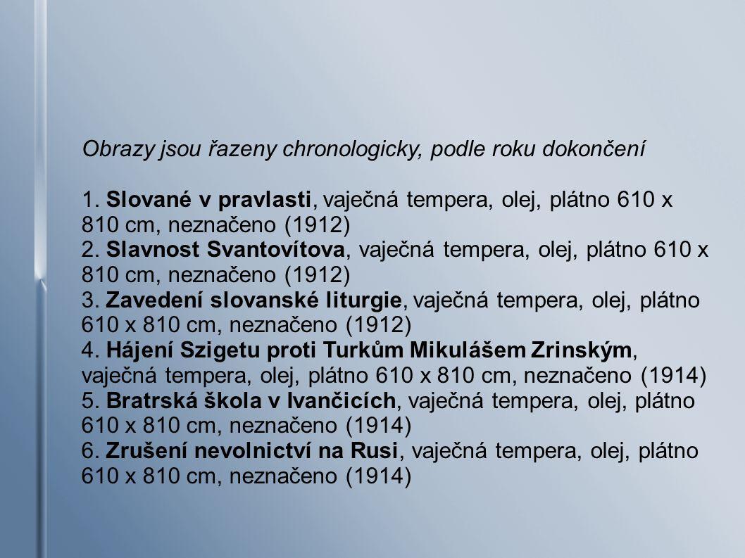 7.Milíč z Kroměříže, vaječná tempera, olej, plátno 620 x 405 cm, neznačeno (1916) 8.