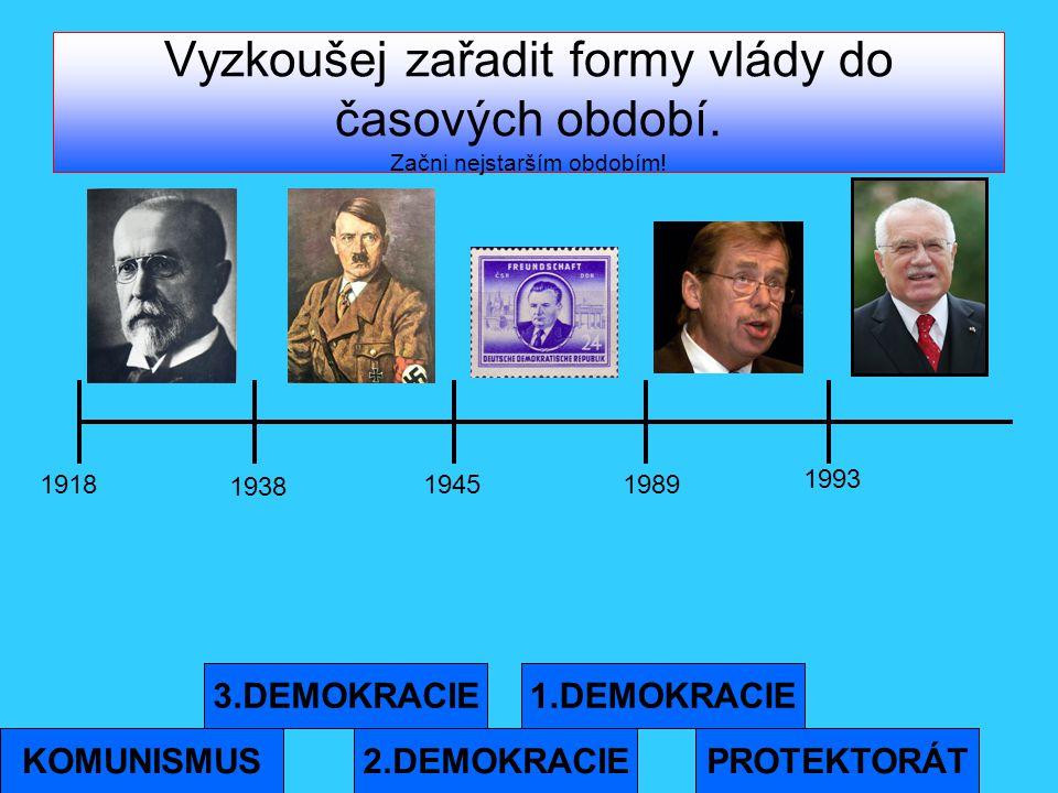 Vyzkoušej zařadit formy vlády do časových období. Začni nejstarším obdobím! PROTEKTORÁT 3.DEMOKRACIE 2.DEMOKRACIE 1.DEMOKRACIE KOMUNISMUS 1918 1938 19