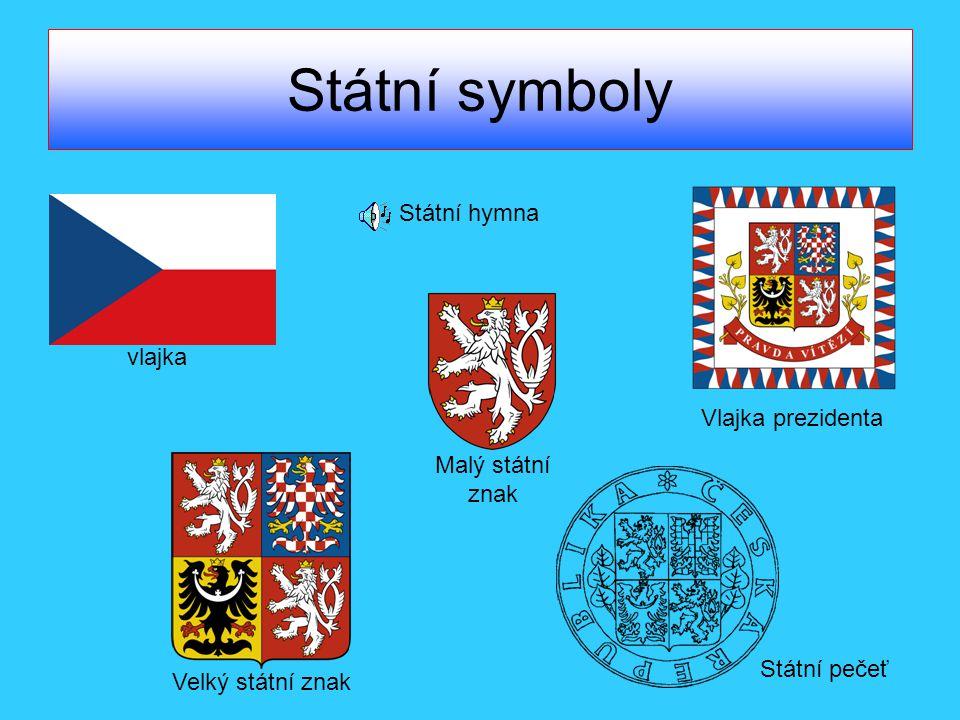 Státní symboly vlajka Velký státní znak Malý státní znak Vlajka prezidenta Státní pečeť Státní hymna