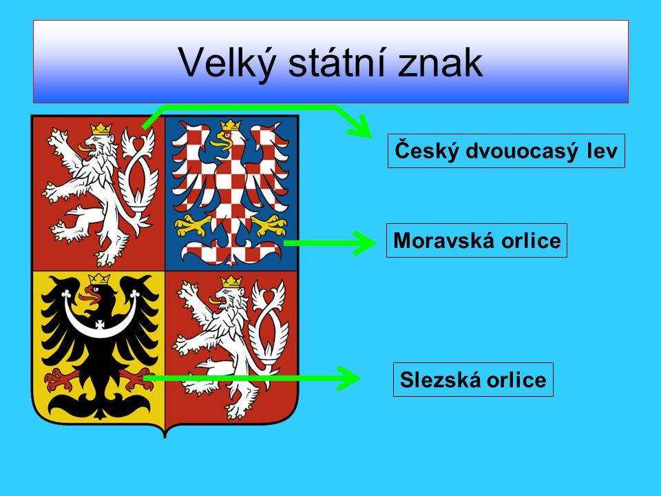 Velký státní znak Český dvouocasý lev Moravská orlice Slezská orlice