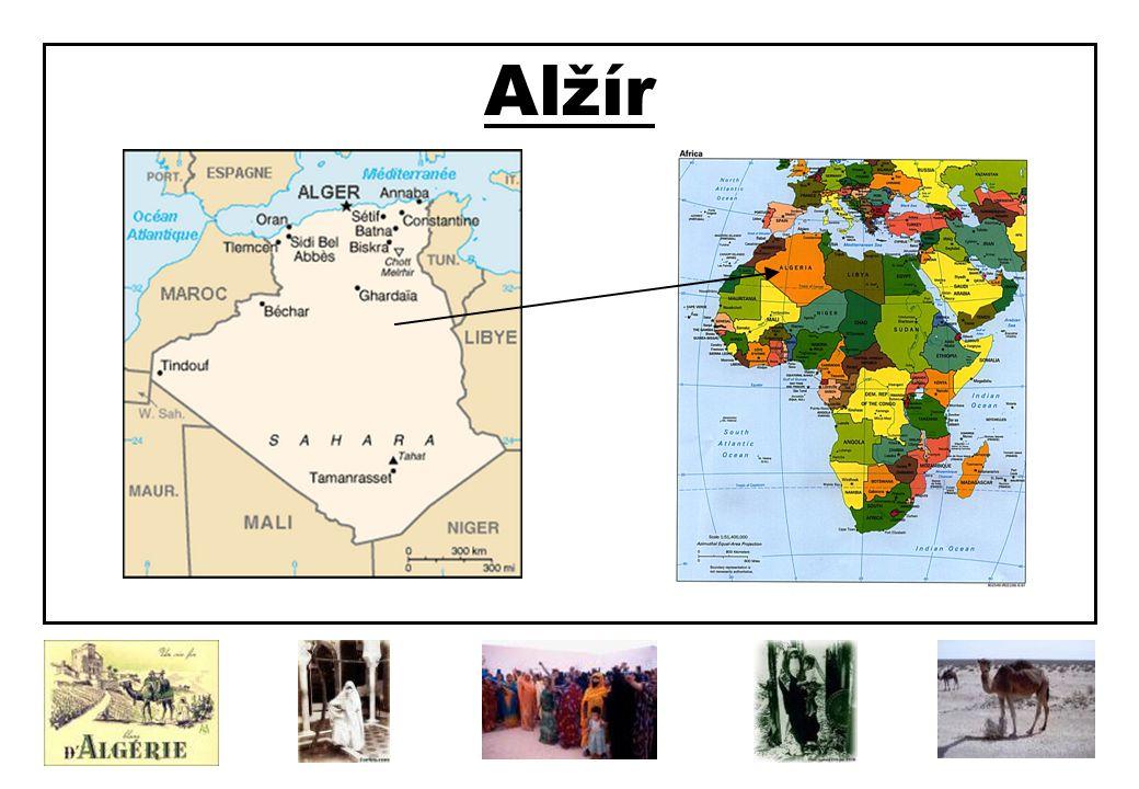 Alžírská demokratická a lidová republika Rozloha: 2 381 741 km2 Počet obyvatel: 29,6 milionu Hlavní město: Alžír (3,7 milionu obyvatel) Úřední řeč: arabština Další užívaný jazyk: francouzština Náboženství: sunnitský islám (99%) Náboženské minority: katolíci, protestanti, židé, část berberů vyznává marabutismus Měna: Alžírský dinár (DZD)= 100 centimů Významná města: Oran, Constantine, Annaba, Sétif, Batna, Sidi bel-Abbés, Blida Členství v některých mezinárodních organizacích: OSN, OAJ, Arabská liga, OPEC Obyvatelstvo tvoří: Arabové (asi 70%) a Berbeři (asi 30%), minority tvoří černí Afričané (na jihu) a Evropané (Francouzi) Alžír je druhá největší země Afriky.