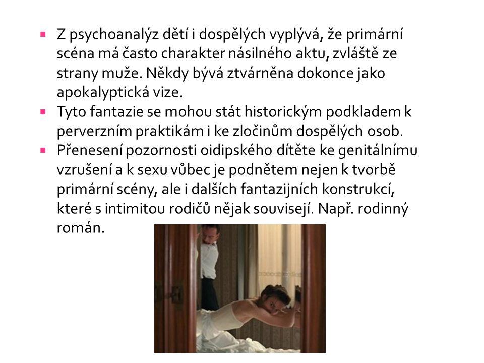  Z psychoanalýz dětí i dospělých vyplývá, že primární scéna má často charakter násilného aktu, zvláště ze strany muže.