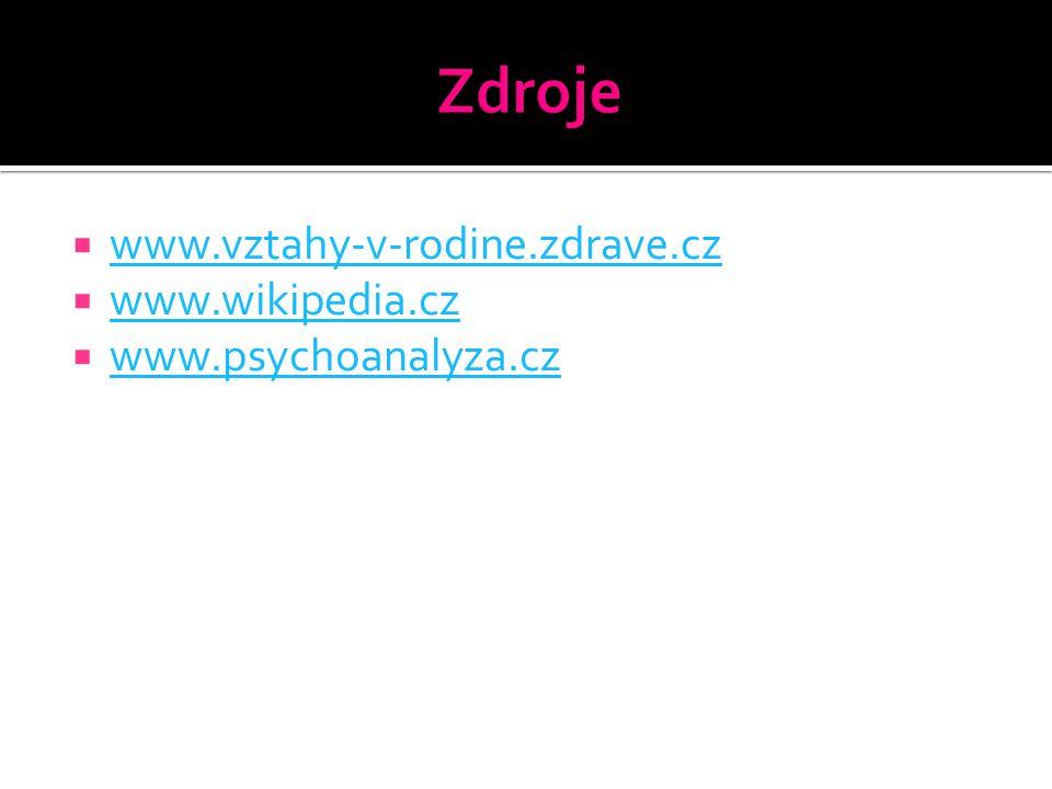  www.vztahy-v-rodine.zdrave.cz www.vztahy-v-rodine.zdrave.cz  www.wikipedia.cz www.wikipedia.cz  www.psychoanalyza.cz www.psychoanalyza.cz