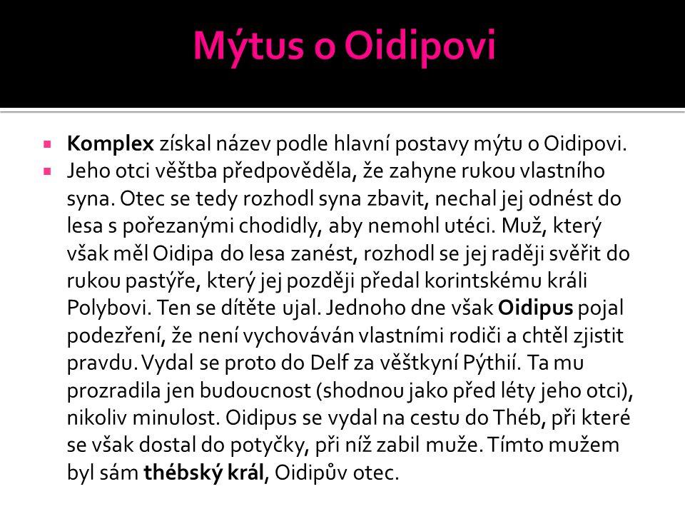  Komplex získal název podle hlavní postavy mýtu o Oidipovi.  Jeho otci věštba předpověděla, že zahyne rukou vlastního syna. Otec se tedy rozhodl syn