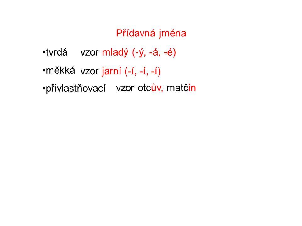 Přídavná jména tvrdá měkká přivlastňovací vzor mladý (-ý, -á, -é) vzor jarní (-í, -í, -í) vzor otcův, matčin