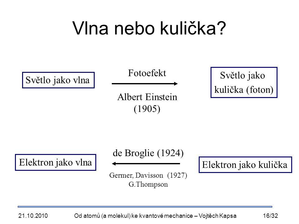 21.10.2010Od atomů (a molekul) ke kvantové mechanice – Vojtěch Kapsa16/32 Vlna nebo kulička.