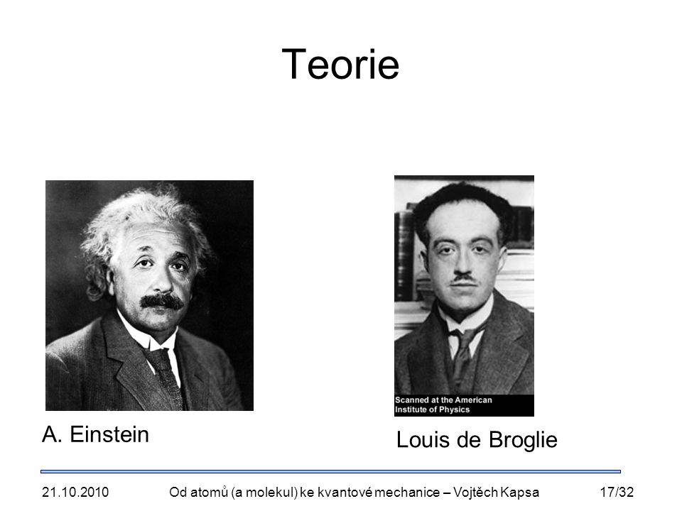 21.10.2010Od atomů (a molekul) ke kvantové mechanice – Vojtěch Kapsa17/32 Teorie A. Einstein Louis de Broglie