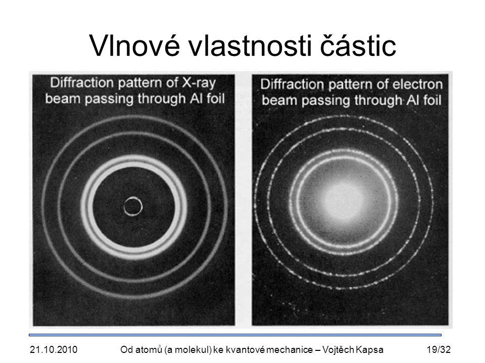 21.10.2010Od atomů (a molekul) ke kvantové mechanice – Vojtěch Kapsa19/32 Vlnové vlastnosti částic