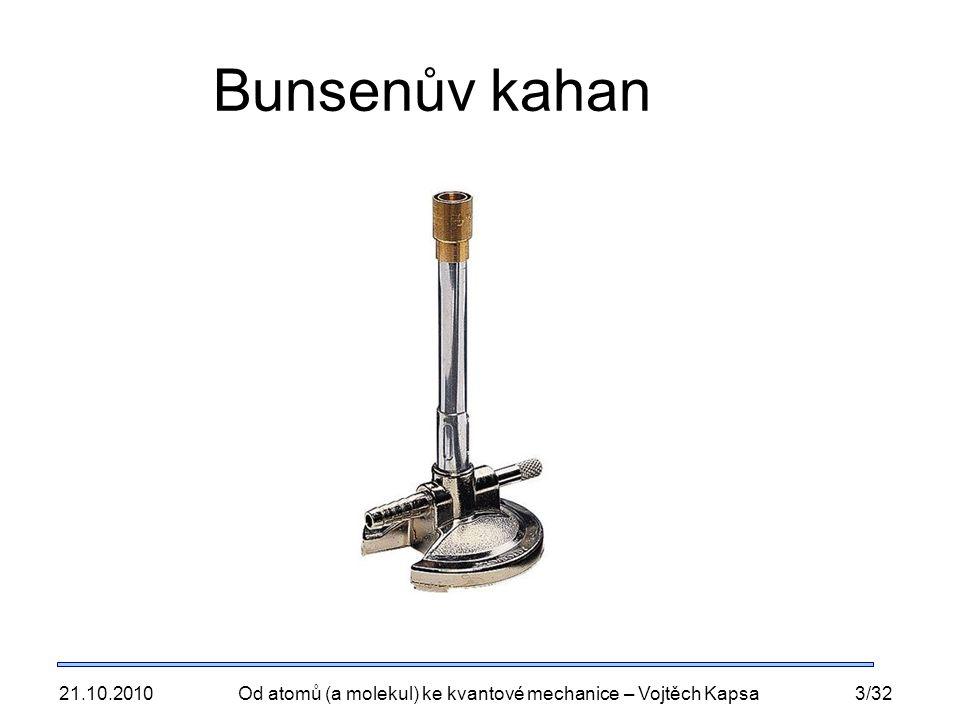 21.10.2010Od atomů (a molekul) ke kvantové mechanice – Vojtěch Kapsa3/32 Bunsenův kahan