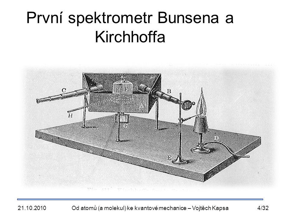 21.10.2010Od atomů (a molekul) ke kvantové mechanice – Vojtěch Kapsa4/32 První spektrometr Bunsena a Kirchhoffa