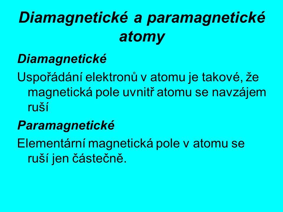 Diamagnetické a paramagnetické atomy Diamagnetické Uspořádání elektronů v atomu je takové, že magnetická pole uvnitř atomu se navzájem ruší Paramagnet
