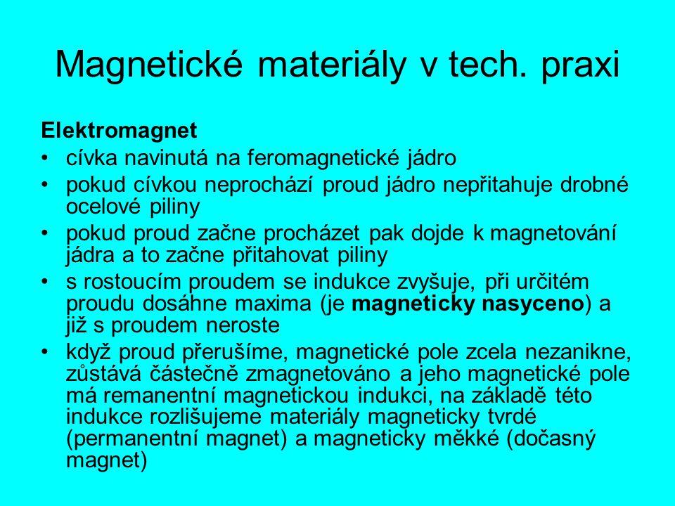 Magnetické materiály v tech. praxi Elektromagnet cívka navinutá na feromagnetické jádro pokud cívkou neprochází proud jádro nepřitahuje drobné ocelové