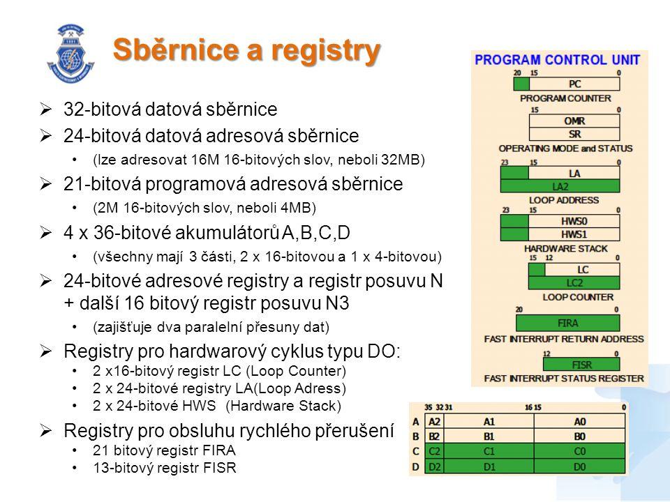 Sběrnice a registry  32-bitová datová sběrnice  24-bitová datová adresová sběrnice (lze adresovat 16M 16-bitových slov, neboli 32MB)  21-bitová pro