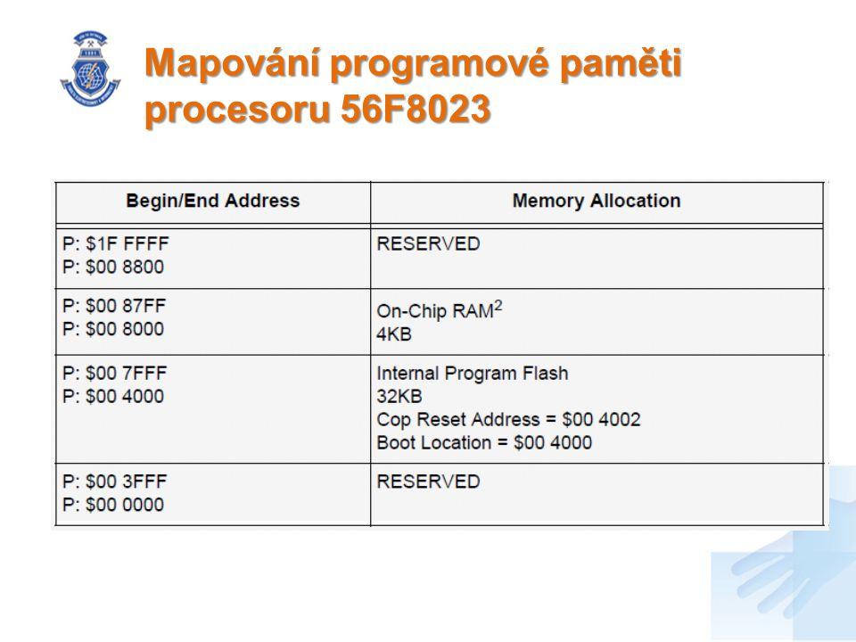 Mapování programové paměti procesoru 56F8023