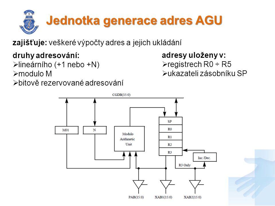 Jednotka generace adres AGU adresy uloženy v:  registrech R0 ÷ R5  ukazateli zásobníku SP zajišťuje: veškeré výpočty adres a jejich ukládání druhy adresování:  lineárního (+1 nebo +N)  modulo M  bitově rezervované adresování