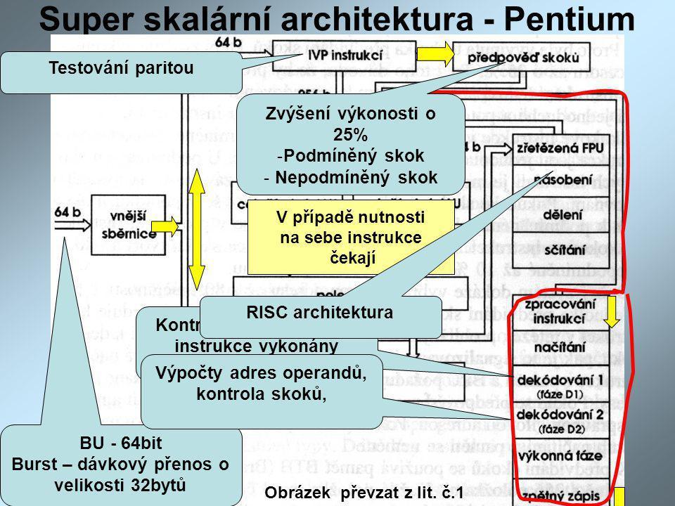 Super skalární architektura - Pentium V případě nutnosti na sebe instrukce čekají BU - 64bit Burst – dávkový přenos o velikosti 32bytů Kontrala zda mohou být instrukce vykonány paralelně Výpočty adres operandů, kontrola skoků, RISC architektura Testování paritou Zvýšení výkonosti o 25% -Podmíněný skok - Nepodmíněný skok Obrázek převzat z lit.