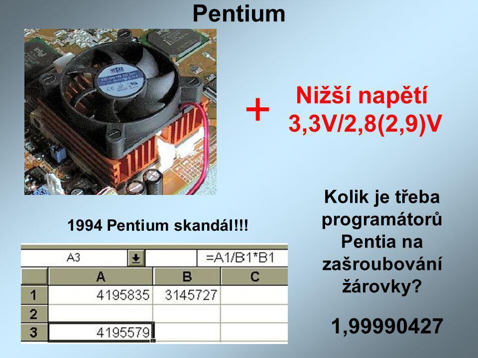 Pentium + Nižší napětí 3,3V/2,8(2,9)V 1994 Pentium skandál!!! Kolik je třeba programátorů Pentia na zašroubování žárovky? 1,99990427